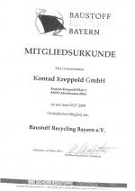 Mitgliedsurkunde Baustoff Recycling